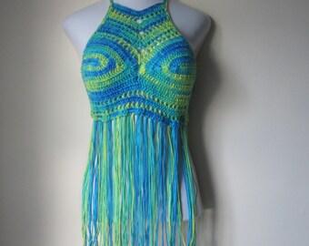 FESTIVAL  HALTER TOP, Bohemian top, Hippie top, bohemian clothing, bohochic, greenery crochet Fringe top, festival clothing, gypsy clothing