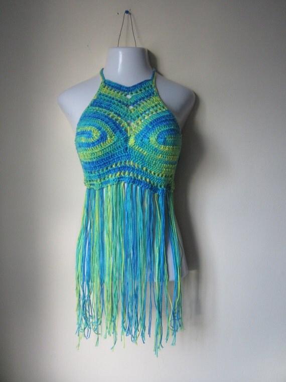 Crochet Halter Top : FESTIVAL HALTER TOP, greenery crochet Fringe top, festival clothing ...