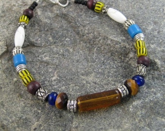 Beaded Bracelet, Native American Bracelet, Trade Bead Bracelet, Tribal bracelet, Mens Jewelry, Bohemian BOHO Bracelet, African Trade Beads