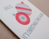 Balls Letterpress Xmas Card // Set of 6 cards // 1545B