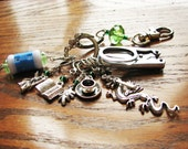 Middle Earth LOTR Knitter's Chatelaine with Non-Snag Stitch Markers, Row Counter & Folding Scissors on a Decorative Clasp