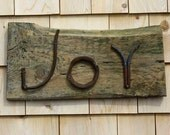 Metal sign from found objects JOY wooden Folk Art wall hanging