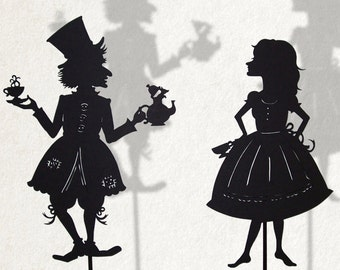 Alice and the Madhatter/ Laser cut Shadow Puppets