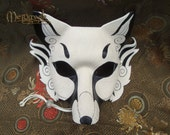 READY TO SHIP Inari Fox Leather Mask ... handmade leather Japanese kitsune fox mask masquerade Mardi gras Halloween burning man costume