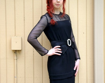 Vintage 60s black wiggle dress/ Mad Men style