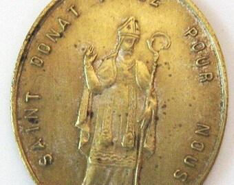 Antique Saint Donat Miraculous French Religious Medal Pendant Charm 1800s