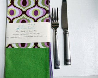 Groove Modern Cloth Napkin Set / reversible eco friendly napkins / lime green and purple / 1960s groovy pop art style / whimsical napkins