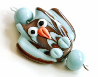Blue and Brown Owl Handmade Lampwork Glass Bead Set