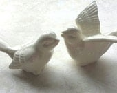 Birds Wedding Cake Topper  Love Birds White Ceramic Birds  Ceramic Bird Home Decor