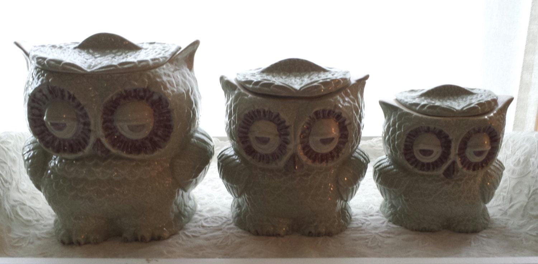 Owl Canister Set Of 3 Home Decor Owl By Angelheartdesigns