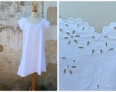 Vintage Antique old French Edwardian white cotton dress underdress with ton on ton embroiderys size M/L