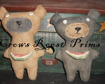 Bear 221e Watermelon Wilma Primitive Crows Roost Prims epattern SALE immediate download