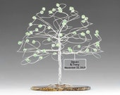 """Personalized Tree Cake Topper Wedding Sculpture Size 6"""" x 6"""" in Swarovski Crystal Elements Custom Color Beads and Silver Copper or Gold Wire"""