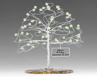 "Personalized Tree Wedding Cake Topper Sculpture Size 6"" x 6"" in Swarovski Crystal Elements Custom Color Beads and Silver Copper or Gold Wire"