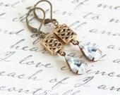 Jewel Dangle Earrings, Clear Jewel Earrings, Brass Earrings, Victorian Style Earrings, Wedding Earrings, Gift For Woman, Valentines Gift