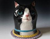 Ceramic Tuxedo Cat Sculpture & Vase