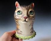 Ceramic Cat -  Tabby Cat Sculpture & Vase