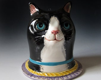 Ceramic Tuxedo Cat Sculpture & Vase