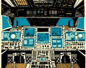 To Outer Space : hand-pulled print of spaceshuttle cockpit illustration