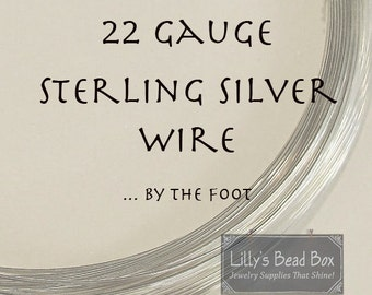 22 Gauge Sterling Silver Wire - By The Foot, Half Hard, Round Wire for Wire Wrapping Jewelry and Gemstones