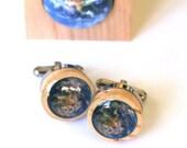 Planet Earth Cufflinks - Solar System Cufflinks, Recycled Wine Corks, Steel Cufflinks, Traveler, Tree Hugger Gift for Guy by Uncorked
