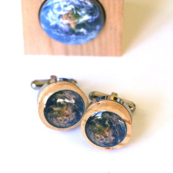 Planet Earth Cufflinks - Solar System Cufflinks, Recycled Wine Corks, Steel Cufflinks, Traveler, Tree Hugger Gift for Guy by Uncorked