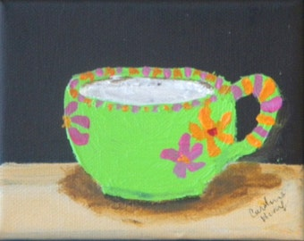 Lime Green Latte Cup Original Small Acrylic Painting.