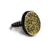 Chartreuse Drusy Ring- Handmade Sterling Silver on SALE