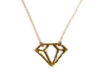 Handmade Hammered Brass Gemstone Outline Necklace- Rachel Pfeffer
