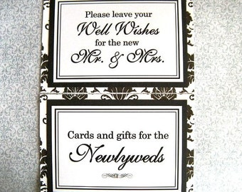 CLEARANCE 5x7 Flat Wedding Sign Package in Black and White Damask and Black - Cards and Gifts for the Newlyweds and Wedding Guest Book