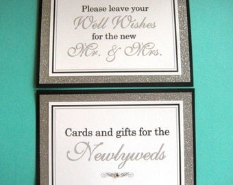 5x7 Flat Wedding Sign Package in Black and White and Glittery Silver - Cards and Gifts for the Newlyweds and Wedding Guest Book