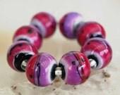 8 Radiant Orchid meets Rubino Spheres , handmade lampwork beads , by Beadfairy Lampwork