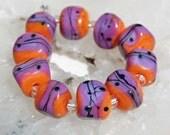 10 Pink Fire Nuggets , radiant orchid pink , pumpkin orange , handmade lampwork beads , by Beadfairy Lampwork