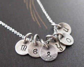 me and you necklace in sterling silver - tiny initial discs valentines for her