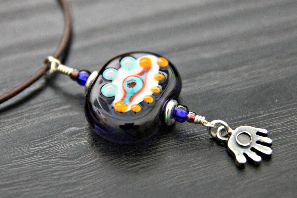 Glass Eye Bead Pendant With Whimsical Hamsa Charm On Brown Leather So Cute