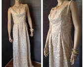 Late 50s, 1960s Stunning Sequined Emma Domb Evening Gown, Rhinestones, Pearls, Low Plunging Back