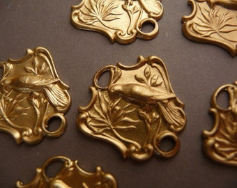 6 Brass Connectors - Bird Flowers - Japonaiserie Eastlake Pendant