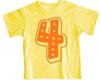 Kids SUPERSTAR Fourth Birthday T-shirt