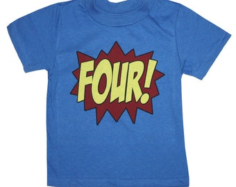 Kids SUPERHERO Fourth Birthday T-shirt