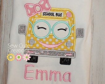 Girl School Bus shirt, Back to School Shirt, Girl Bus shirt, Kindergarten shirt, Preschool shirt,School outfit, sew cute creations