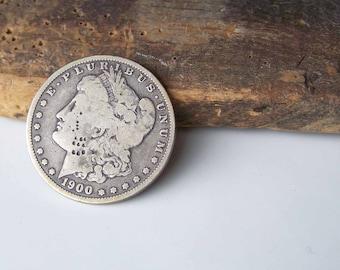 Coin, Antique Coin, Morgan 1900 Silver Dollar, Silver Dollar, Precious Metal Coin, Etsy, Etsy Collectibles,