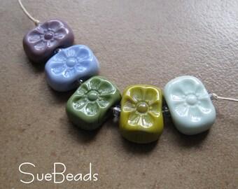 Lampwork Beads - SueBeads - Spring Flower chicklet bead set - Handmade Lampwork Beads - SRA M67