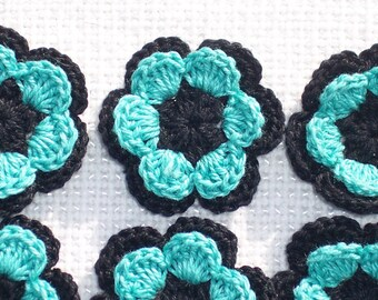 12 black and  aqua cotton thread crochet applique flowers/roses --  1568