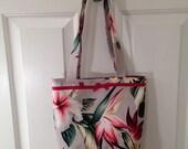 SMALL TOTE BAG Grey Hibiscus Hawaiian Print Barkcloth Purse Handbag Tiki Hawaii