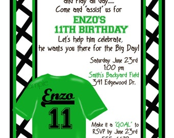 Personalized Soccer Invitations,Soccer Birthday Party, Sports party,  Soccer invites,Custom