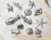 Charms Seashore Coastal dozen nautical assortment silver starfish shells fish mermaids