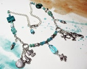 REEF silver mermaid seahorse chain turquoise beads charms fish seashells crystals necklace Unique beaded bohemian boho western eclectic