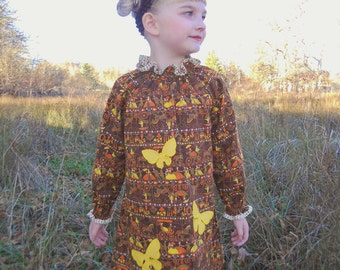 Girls size 6 long sleeve dress made from vintage fabric with butterfly applique/brown and yellow/ Eco wear/ photo fashion