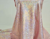 Shattered Glass Hologram Spandex Light Pink  Fabric ...dance...cheer bows...gymnastics...costume..crafts...pageant