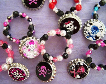 Girls Skully Pirate Birthday Party Favor Bracelet 6pk